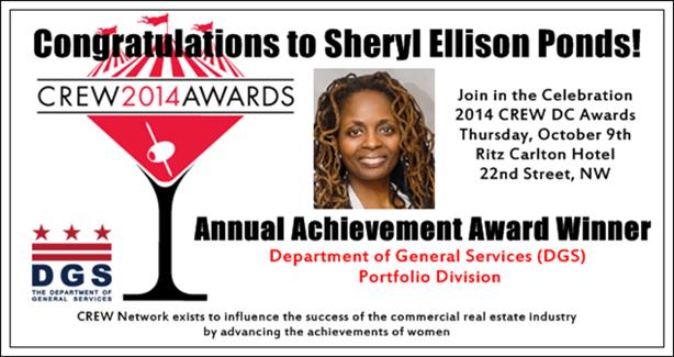 Congratulations to DGS's 2014 Crew DC Award Winner Sherryl E. Ponds!